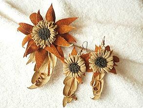 Sady šperkov - Sada kožená, suché kvietky - 9037409_