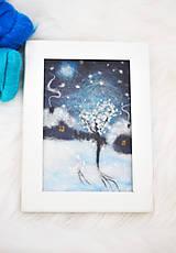 """Obrázky - Vlnený obraz """"Zima v dedinke"""" - 9039460_"""