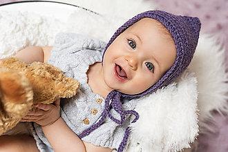Detské čiapky - Fialový pixie čepček ALPAKA - 9045655_