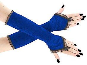 Rukavice - Spoločenské zamatové modré rukavice opera 9R - 9044961_