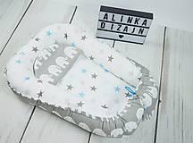 - Hniezdo pre bábätko sivo-modré so sloníkmi a hviezdami - 9045079_