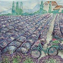Papier - S1113 - Servítky - bike, levandula, dom, kvety, akvarel, záhrada - 9043879_