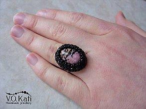 Prstene - Prsteň s rodonitom - bead embroidery - 9045557_