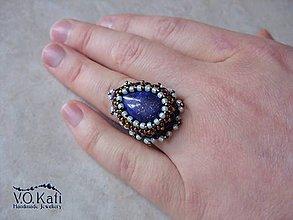 Prstene - Shirrah - lapis lazuli, bead embroidery - 9045578_