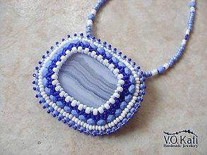Náhrdelníky - Felicity - chalcedon, bead embroidery - 9045631_