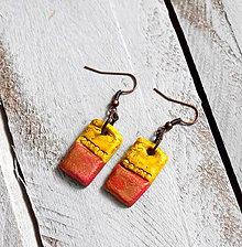 Náušnice - Zľava z 5€ na 3€ Farebné náušnice (žlto-ružová) - 9041968_
