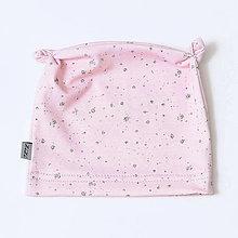 Detské čiapky - Novorodenecká čiapočka s uškami bodky ružová (BIObavlna) - 9044054_