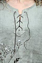 Tuniky - Ľanový top - ručne maľovaný zimné trávy - 9044733_