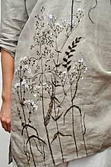 Tuniky - Ľanový top - ručne maľovaný zimné trávy - 9044734_
