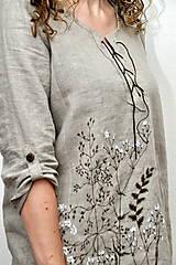 Tuniky - Ľanový top - ručne maľovaný zimné trávy - 9044753_