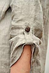 Tuniky - Ľanový top - ručne maľovaný zimné trávy - 9044763_