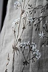 Tuniky - Ľanový top - ručne maľovaný zimné trávy - 9044776_