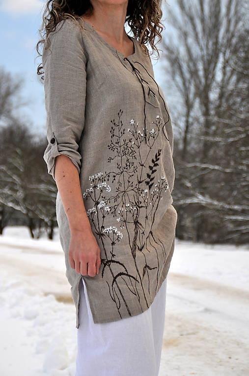 Ľanový top - ručne maľovaný zimné trávy