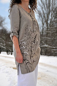 Tuniky - Ľanový top - ručne maľovaný zimné trávy - 9044775_