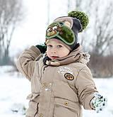 Detské čiapky - Hrejivý set s mackom - 9042958_