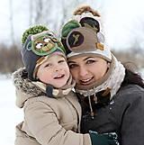 Detské čiapky - Hrejivý set s mackom - 9042959_