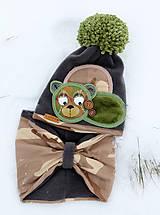 Detské čiapky - Hrejivý set s mackom - 9042960_