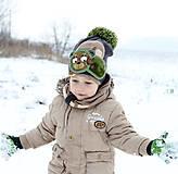 Detské čiapky - Hrejivý set s mackom - 9042963_