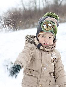 Detské čiapky - Hrejivý set s mackom - 9042961_