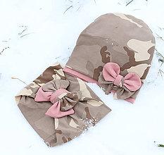 Detské čiapky - Dvojvrstvový set - Ružová a kamufláž - 9043036_