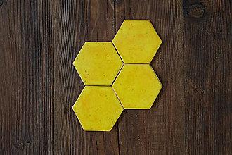Dekorácie - Keramické obkladačky šesťuholníky (Žltá) - 9042143_