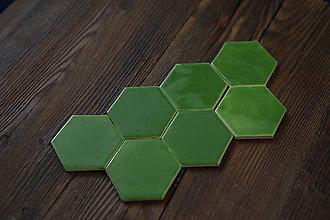 Dekorácie - Keramické obkladačky šesťuholníky (Zelená) - 9042157_