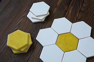 Dekorácie - Keramické obkladačky šesťuholníky (Biela) - 9042179_