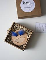Kľúčenky - Kožený prívesok-ZUZANKA-SMALL -natural+kráľovská modrá - 9042901_