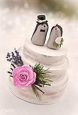 Dekorácie - Svadobní ježkovia menší - figúrky na tortu - 9043633_