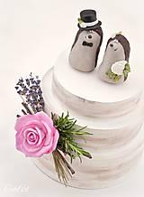 Dekorácie - Svadobní ježkovia menší - figúrky na tortu - 9043638_