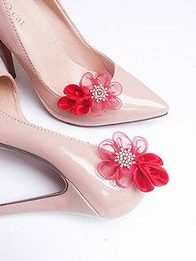 Obuv - Červené kvetinové klipy na topánky so štrasom - 9043710_