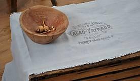 Úžitkový textil - ľanová štóla s vintage motívom (sivomodrá) - 9042424_