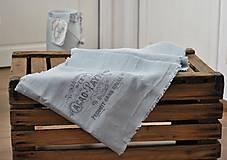 Úžitkový textil - ľanová štóla s vintage motívom (sivomodrá) - 9042425_