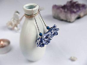 Náušnice - Náušnice: Modro-biele kvety - 9044374_