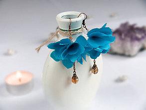 Náušnice - Náušnice: Žiarivo modré kvety - 9044385_