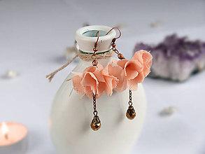 Náušnice - Náušnice: Oranžové pastelové kvety - 9044464_