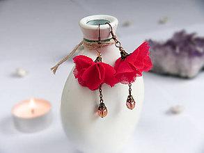 Náušnice - Náušnice: Sýtoružové kvety - 9044546_