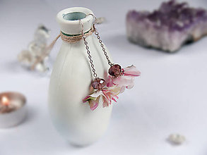 Náušnice - Náušnice: Zeleno-ružovo-biele kvety - 9044645_