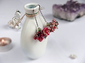 Náušnice - Náušnice: Zeleno-červené kvety - 9044681_