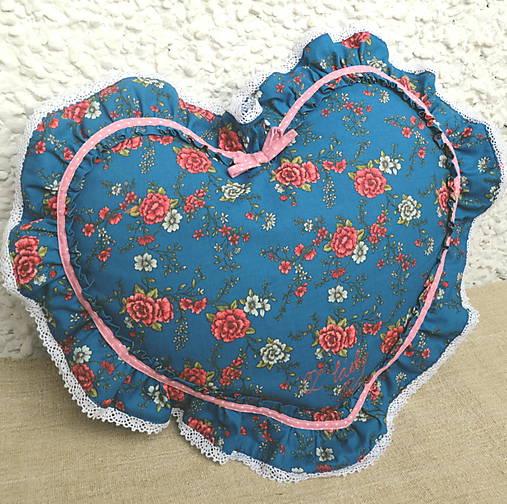 Romantický vankúš srdce s volánom (Tyrkysová)