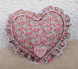Úžitkový textil - Romantický vankúš srdce s volánom (Modrá) - 9041728_