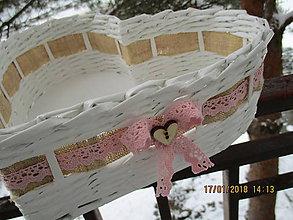 Košíky - ružová čipka + srdiečko - 9044235_