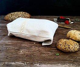 Úžitkový textil - Ľanové vrecúško na drobné pečivo - 9042456_