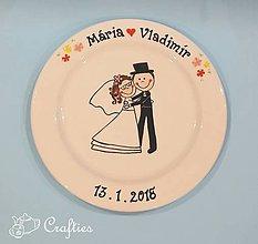Nádoby - Svadobný tanier - v objatí - 9045069_
