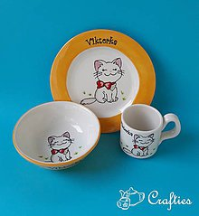 Nádoby - Hrnček, miska a tanierik - mačička - 9045092_