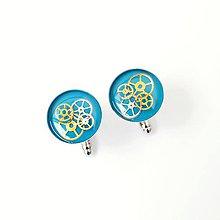 Šperky - Tyrkysové manžetové knoflíčky, steampunkové - 9048548_