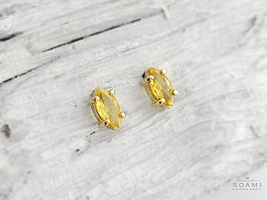 Náušnice - 585/14k zlaté náušnice s prírodným žltým zafírom - 9047119_