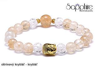 Náramky - BUDDHA náramok gold kryštáľ - citrínový kryštáľ - 9048053_