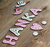 Tabuľky - Drevené písmenká HANKA ružové - 9049196_