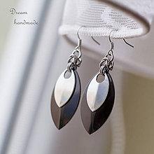 Náušnice - Náušnice Double s malou stříbrnou (Čierné) - 9046098_